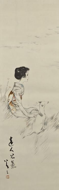 Takehisa Yumeji 竹久夢二 (1884-1934) Enjin shibo 遠人思慕 (Yearning for Someone) - 1920s