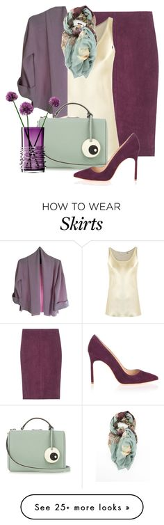 """maxi scarf w/suede pencil skirt"" by rvazquez on Polyvore featuring Jitrois, Gloria Coelho, St. John, Mark Cross, Valentino, Manolo Blahnik and WorkWear"