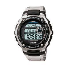Casio Men's Wave Ceptor Stainless Steel Digital Atomic Watch, Grey