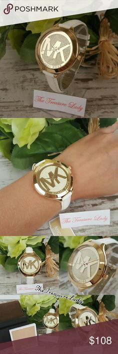 Michael Kors Runway leather watch MK2389 gold slim LAST ONE IN STOCK!! * Authentic * NWT, box and manual * Slim Runway with glittering gold-tone stainless steel dial featuring the classic MK logo * White leather strap * Case diameter: 42 mm * Case thickness: 8 mm * Band widht: 12 mm * 50 m/165 ft water resistant * MK2389 * UPC 796483161481  Please no trades, price is firm.  Same day shipping if order is placed by 3 p.m. EST Monday-Friday Contact: brigittadarby@gmail.com Michael Kors…