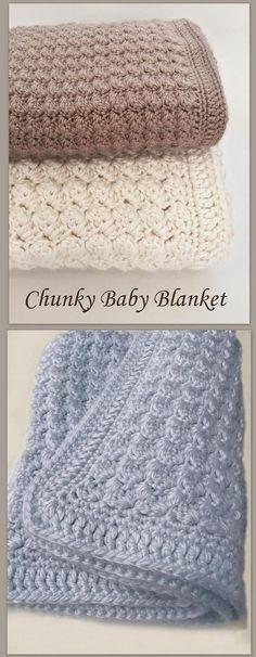 Chunky Crochet Baby Blanket by Deborah O'Leary Patterns #crochet #baby #blanket #nursery #easy #beginner