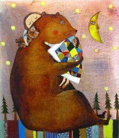 Masha and the bear by Anna Silivonchik Art And Illustration, Illustrations Posters, Bear Art, Naive Art, Whimsical Art, Illustrators, Creations, Painting, Sculpture
