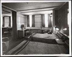 """S.S. Normandie, Suite de Luxe """"Honfleur"""" bedroom #121, Cabin Class, ca. 1935"""