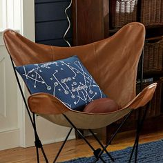 Leather Sling Butterfly Chair | Pottery Barn (hmmm, maybe leather...i'd still add fringe - Airstream)