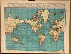 Vintage Map World Globe Earth Original 1935. $20.00, via Etsy.
