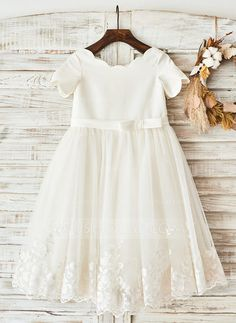 A-Line/Princess Knee-length Flower Girl Dress - Satin Short Sleeves Scoop Neck With Bow(s) - Flower Girl Dresses - JJsHouse Girls Fancy Dresses, Cheap Flower Girl Dresses, Little Girl Dresses, First Communion Dresses, Baptism Dress, Vestidos Fashion, Fashion Dresses, Flower Girls, Short Satin