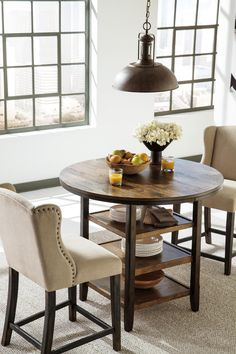Moriann Round Dining Room Counter Table With 3 Shelves Butcher Block Inlay By Signature Design