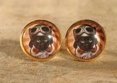 Boucles d'oreilles cabochons de verre boutons par MrAndMrsBeaver Cabochons, Vintage, Etsy, Buttons, I Want You, Ears, Boucle D'oreille, Drinkware, Cat Breeds