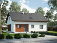Wizualizacja SD Fano D CE Modern Brick House, Ideas Para, Bungalow, Garage Doors, Shed, Outdoor Structures, Outdoor Decor, Home Decor, Houses