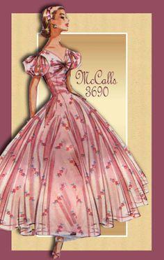 McCalls 3690--Evening Dress 1950s Dress Patterns, Vogue Dress Patterns, Dress Making Patterns, Vintage Sewing Patterns, Vintage Dresses, Vintage Outfits, Vintage Clothing, 1950s Fashion, Vintage Fashion