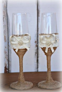 Wedding Champagne Glasses Bride Groom Flutes Toasting Rustic Country Barn Burlap Lace Bridal Shower Gift  ☆ These toasting glasses are a