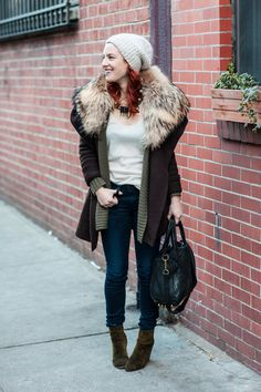 Vince and Alice + Olivia Sweaters. Otte Cashmere Tank.  Rag & Bone Jeans and Boots. Alexander Wang Bag.