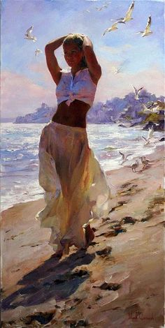 Morning Breeze a Garmash Original Painting available from J Watson Fine Art 661 your source for beautiful Michael and Inessa Garmash original paintings and limited edition artwork. Woman Painting, Figure Painting, Painting Canvas, Beach Walk, Beautiful Paintings, Beach Paintings, Art Paintings, Belle Photo, Artist At Work