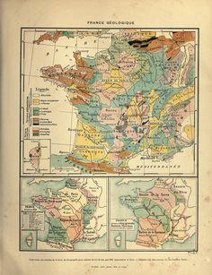 Cartography - France - Geologic map of France3   Vintageprintable