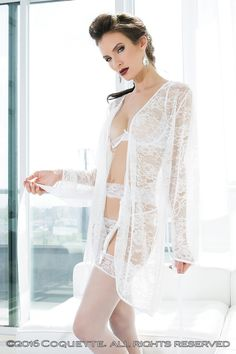 7d7e0f6487 White Long Sleeve Stretch Lace Satin Binding Robe. Online LingerieSexy ...