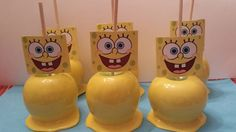 Spongebob Candy Apples Chocolate Covered Apples, Chocolate Dipped, Spongebob Birthday Party, 2nd Birthday, Carmel Candy, Gourmet Caramel Apples, Edible Favors, Sponge Bob, Summer Treats