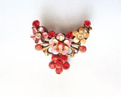 Vintage flower brooch Pink Red Flower Garden by AlinaandT on Etsy, $8.00