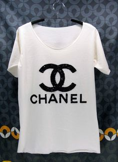 CHANEL T Shirts handmade crystal seed beads sequins sew fix  From OrinocoShop on Etsy