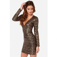 12e91a5427e Sequins Deep V-neck Long Sleeves Short Dress