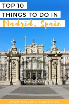 Must Do Madrid: The Top 10 Things To Do In Spain's Capital · Discover the top 10 things to do in Madrid, Spain. From the beautiful Retiro Park to the Royal Palace to world class museums, there is so much to do in Spain's beautiful capital!