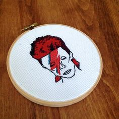 "David Bowie Aladdin Sane - 5"" Cross Stitch by House of Miranda on Etsy.com"