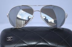 463c22d6177 CHANEL AVIATOR 4185 SILVER BLACK DENIM MIRROR SUNGLASSES AVIATORS UNISEX 58  MM. Free shipping and. Tradesy