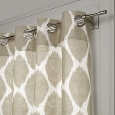 Ikat Ogee linen window panel at West Elm. use fabric to make pillows for bedroom West Elm Curtains, Ikat Curtains, Neutral Curtains, Bedroom Drapes, Drop Cloth Curtains, Cool Curtains, Linen Bedroom, Grommet Curtains, Master Bedrooms