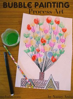 Bubble painting process art is a fun way to combine painting and blowing bubbles. Bubble Drawing, Bubble Painting, Bubble Art, Drawing For Kids, Painting For Kids, Drawing Tips, Art For Kids, Marker Kunst, Marker Art