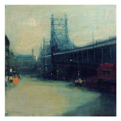 Malcom Liepke, Queensboro Bridge, 1982 Oil on Canvas | From a unique collection of antique and modern contemporary art at http://www.1stdibs.com/furniture/wall-decorations/contemporary-art/