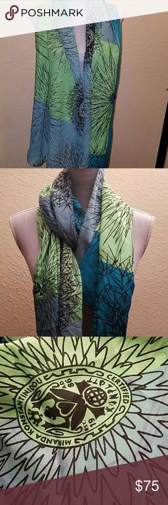 Certified 1986 Miranda Konstantindou Scarf ELEGANT. NEW. 100% SILK. MADE IN ITALY Accessories Scarves & Wraps