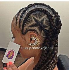 curlupanddyejanet flexing her skills on these cornrows So creative labraider lastylist cornrows earring voiceofhair