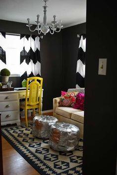 Black paint; Chevron curtains