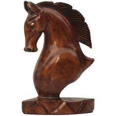 """SouvNear Derby Horse Unique Gift Ideas 4.9"""" Tall Wooden Horse Head... (26 AUD) ❤ liked on Polyvore featuring home, home decor, animal statues, horse statues, wooden horse sculpture, wooden horse statue and wood horse statue"""