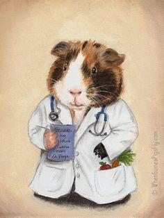 Dr. Peega Meerschweinchen Arzt Kunstdruck von von WhenGuineaPigsFly