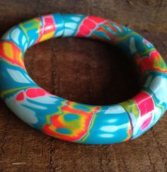 Tropical Rainbow Retro Bangle  polymer clay by purplecactusstudios