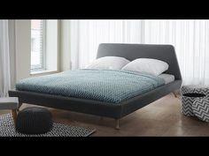 Łóżko szare - tapicerowane - ze stelażem - 160x200 cm - VIENNE