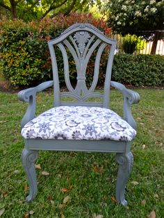 Grey Chippendale Accent Chair. $295.00, via Etsy.