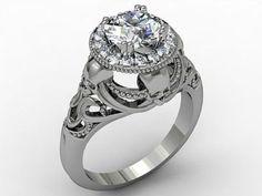 Picture of 'Monaco' White Diamonds Skull White Gold Engagement Ring Skull Wedding Ring, Wedding Rings, Wedding Stuff, Wedding Ideas, Gothic Engagement Ring, Diamond Skull, Skull Jewelry, Jewellery, Unique Rings