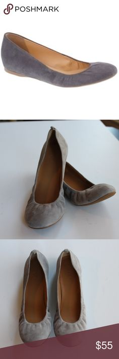 """J CREW Suede Cece Ballet Flats These are a J. Crew classic! Perfect for casual wear or in the workplace. Excellent condition J. Crew Suede Cece ballet flats. Women's size 9. Two very small imperfections that are hardly noticeable as seen in pictures 7 and 8.  """"One of our most popular ballet flats, now made entirely in Italy, just outside of Florence. Each pair features a cushiony interior, durable rubber soles and elastic around the outside for the most comfort."""" J. Crew Shoes Flats…"""