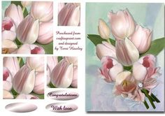 A beatiful bunch of pink tulips to send for any one special, two labels, congratulations and with love, but also has a blank for your own reasons