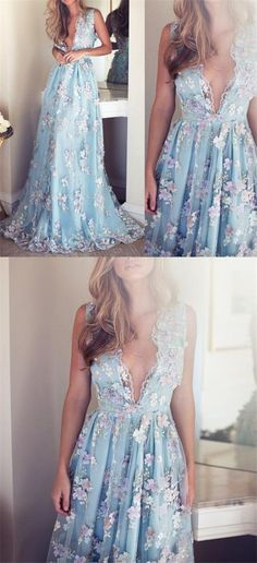 V-neck Sleeveless Blue tulle Appliques Prom Dresses, Affordable Long A-line Prom Dress