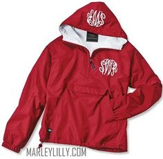 c0348130e98e Monogrammed Red Pullover Rain Jacket Half Zip Pullover