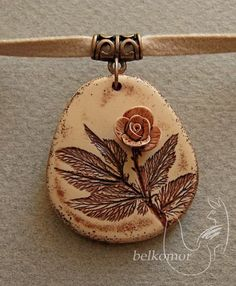 www.ljplus.ru/... - Rose flower clay pendant by belkomor