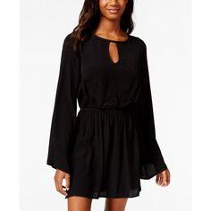 Joe & Elle Juniors' Bell-Sleeve Peasant Dress ($35) ❤ liked on Polyvore featuring dresses, black, boho dress, boho style dresses, black peasant dress, peasant dress and kohl dresses