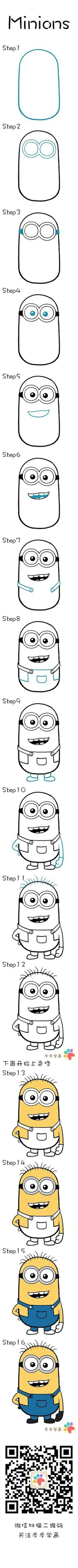 Learn how to draw Minions. I love Minions Drawing Lessons, Drawing Techniques, Drawing Tips, Art Lessons, Drawing For Kids, Art For Kids, Minion Drawing, Minion Sketch, Pikachu Drawing