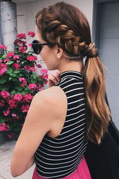 Dutch braid + pony hairstyle <3 Repin if you would wear this hairstyle! Photo via @nicholleciotti