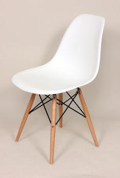 Mid-Century Eiffel Dining Chair Wooden Legs White