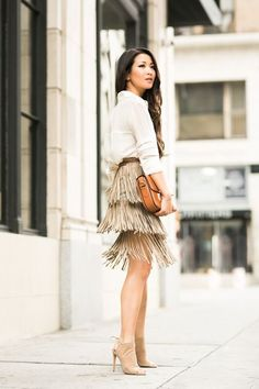 All Beige :: Fringe skirt & Vintage Celine