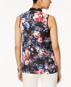 Love Scarlett Floral-Print Tie-Neck Blouse - Black XL
