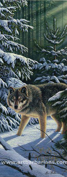 """Kim Norlien Rivers of Light Wolf Art Print 8/"""" x 12/"""""""